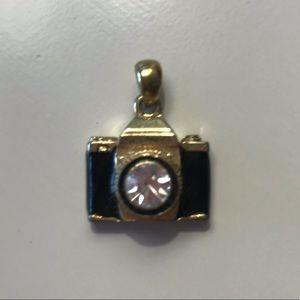 Gold/Black Camera Rhinestone Pendant